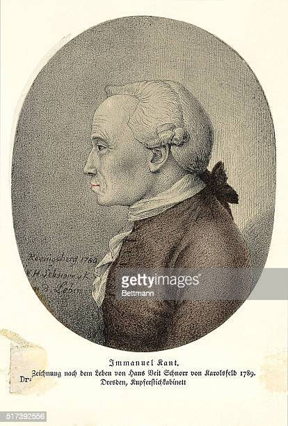Profile portrait of German philosopher Immanuel Kant Drawn from life by Hans Veit Schnorr in 1789