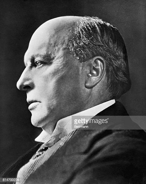 Profile portrait of Henry James Americna author and critic. Photograph.