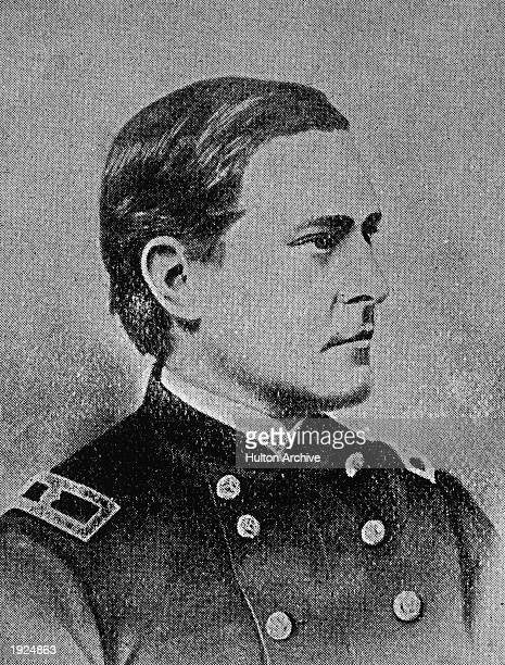 Profile portrait of Major MA Reno commander at the Battle of Little Big Horn c 1876