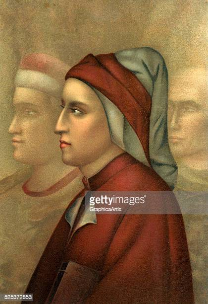 Profile portrait of the writer Dante Alighieri based on an Italian fresco chromolithograph 1901