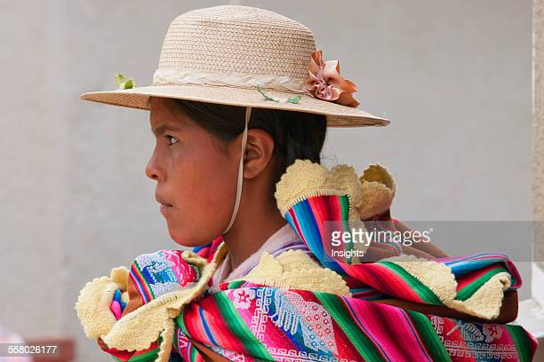 Profile shot of young Bolivian girl