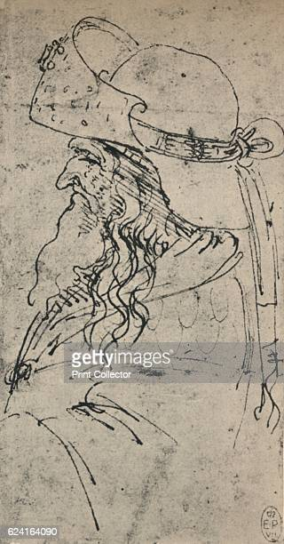 Profile to the Left of an Old Man in a Large Hat' c1480 From The Drawings of Leonardo da Vinci [Reynal Hitchcock New York 1945] Artist Leonardo da...