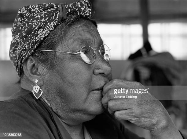 Profile view of an unidentified elderly woman on the Red Lake Indian Reservation home of the Red Lake Band of Chippewa Indians Red Lake Minnesota...