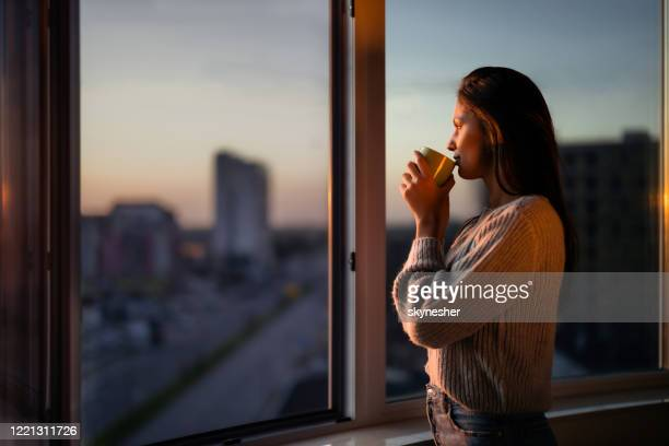 profile view of beautiful woman drinking coffee by the window. - dusk stock pictures, royalty-free photos & images