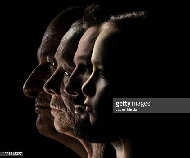 profile view of faces in row - the ageing process stock pictures, royalty-free photos & images