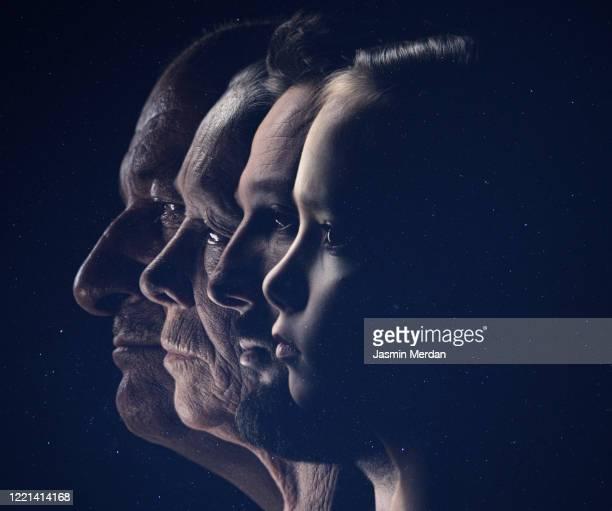 profile view of family faces in line - alterungsprozess stock-fotos und bilder