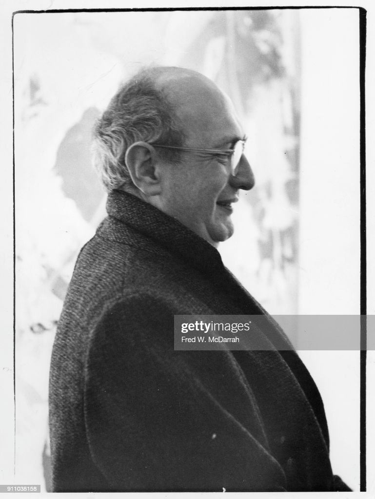 Profile view of Latvian-born American painter Mark Rothko (1903 - 1970) as he attends an exhibition at Sidney Janis Gallery, New York, New York, March 6, 1961.
