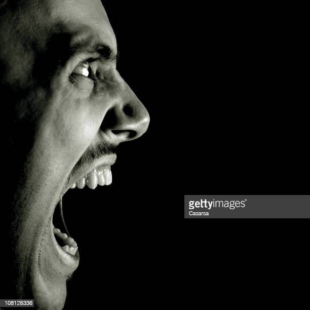 Profile View of Man Screaming, Black and White
