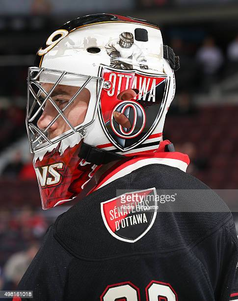 A profile view of Matt O'Connor of the Ottawa Senators warms up prior to a game against the Columbus Blue Jackets at Canadian Tire Centre on November...