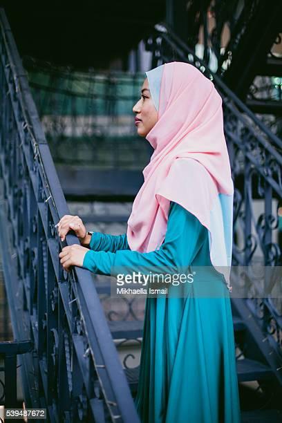 Profile View Portrait of Muslim Woman in Hijab