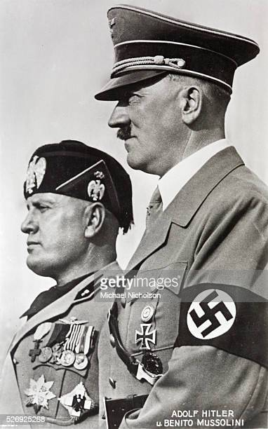 Profiles of Adolph Hitler and Benito Mussolini leaders of the Fascist axis alliance
