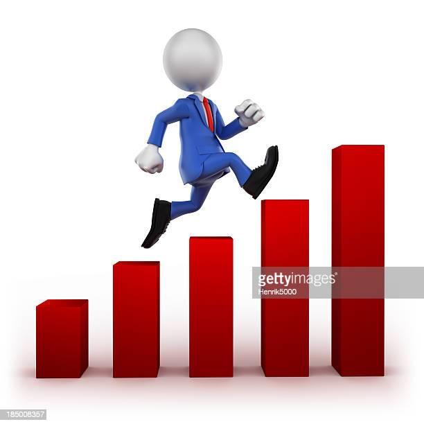 収益の増加に走るビジネスマン、白で分離
