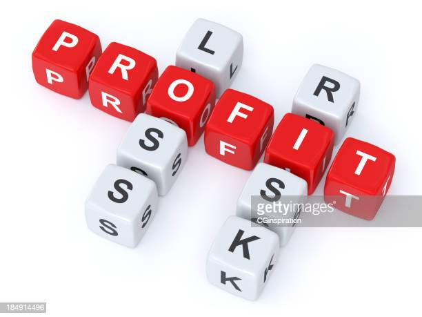 profit loss risk crosswords - nederlaag stockfoto's en -beelden