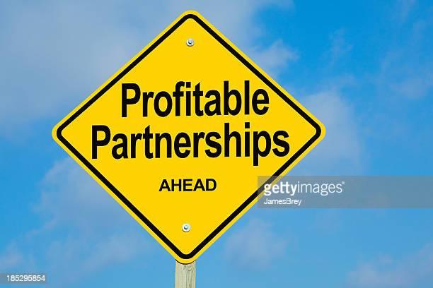 Profitable Partnerships Ahead Road Sign