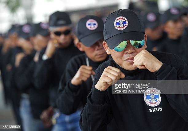 Progovernment Thai Red Shirt supporters practice selfdefence as they attend the camp of Democracy Protection Volunteers in Udon Thani province...