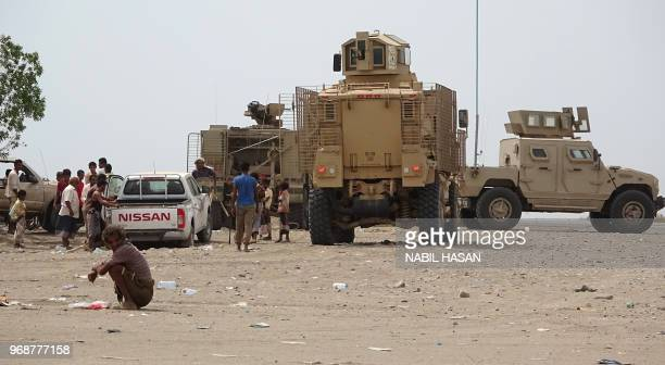 Progovernment Yemeni forces gather in Yemen's Hodeida province near the city of Zabid on June 6 2018