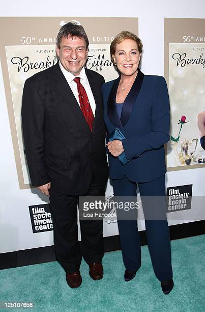 """Program director of the Film Society of Lincoln Center Richard Pena and screen legend Julie Andrews attend the """"Breakfast at Tiffany's"""" 50th..."""