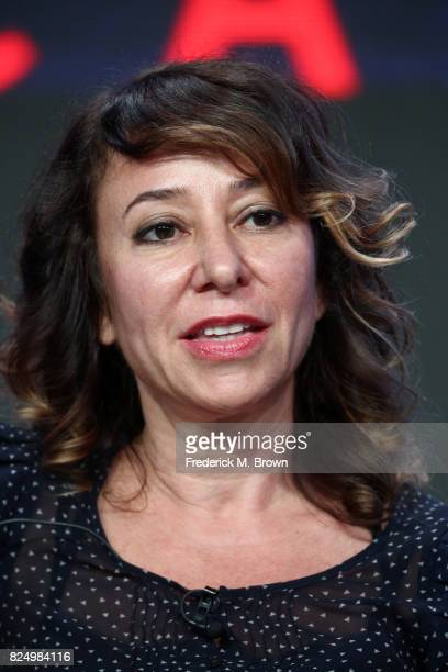 Program host Janna Levin of 'Black Hole Apocalypse' speaks onstage during the PBS portion of the 2017 Summer Television Critics Association Press...