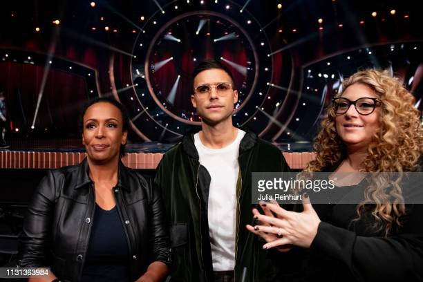 Program hosts Marika Carlsson Eric Saade and Sarah Dawn Finer meet the press ahead of the fourth heat of Melodifestivalen Sweden's competition to...