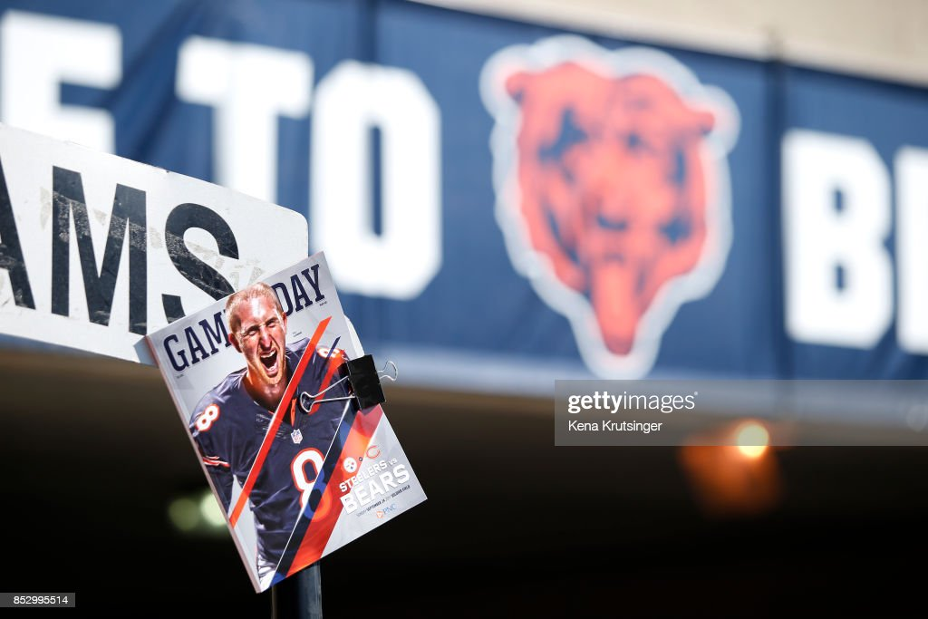 A program is displayed at Soldier Field prior to the game between the Chicago Bears and the Pittsburgh Steelers on September 24, 2017 in Chicago, Illinois.