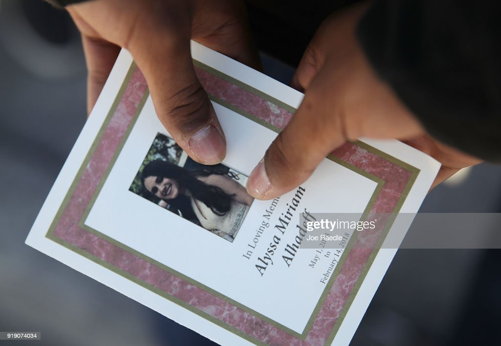 A program is seen from the funeral of Alyssa Alhadeff at the Garden of Aaron at Star of David Memorial Gardens on February 16, 2018 in Parkland, Florida. Alhadeff was one of 17 people killed in the February 14 shooting at Marjory Stoneman Douglas High School. Former student Nikolas Cruz has been arrested and charged for the 17 murders.