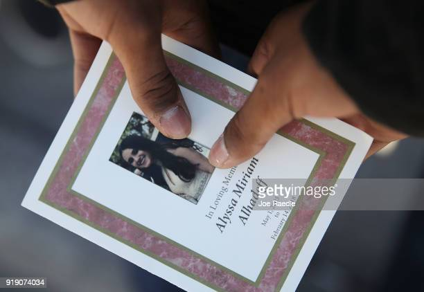 A program is seen from the funeral of Alyssa Alhadeff at the Garden of Aaron at Star of David Memorial Gardens on February 16 2018 in Parkland...