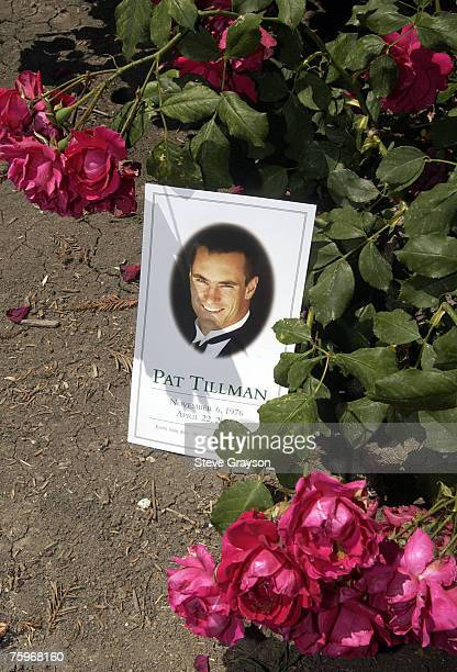 A program of the memorial services for Pat Tillman is shown among roses at the San Jose Rose Garden May 3 2004