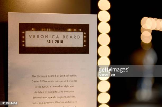 A program on display at the runway for the Veronica Beard Fall 2018 presentation at Highline Stages on February 12 2018 in New York City