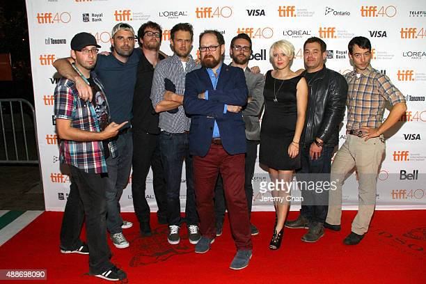 TIFF programer Colin Geddes and members of the cast crew attend the 'Southbound' photo call during the 2015 Toronto International Film Festival at...