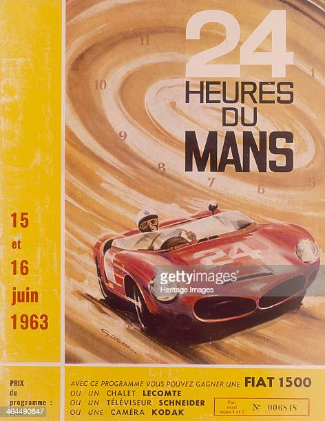 A programme advertising Le Mans 24 Hours 1963 A racing driver in his speeding car with the hours swirling in a circle of dust behind him