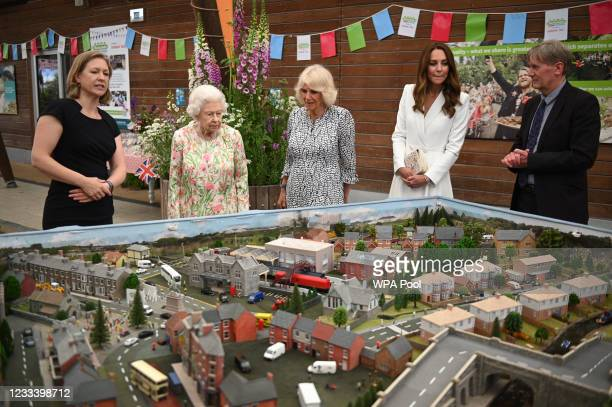 Programme Director at Eden Project, Lindsey Brummitt and Board director of Eden Project, Peter Stewart show a scale model of Big Lunch events that...