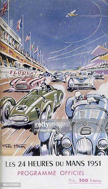 Programme for Le Mans 24 Hours 1951 Racing cars speeding along the circuit in front of the spectator stands Flags of the different nations line the...
