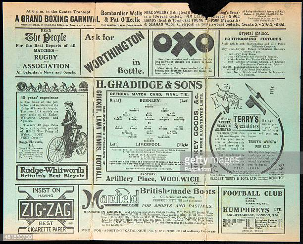 A programme for the FA Cup Final between Burnley and Liverpool at Crystal Palace in London on 25th April 1914 Burnley won 10