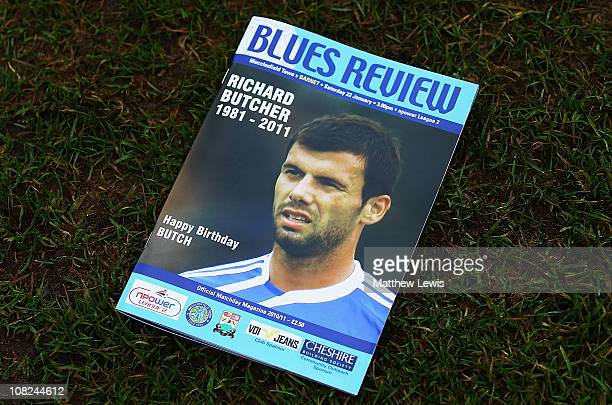 Programme in memory of former Macclesfield Town player Richard Butcher during the npower League Two match between Macclesfield Town and Barnet at the...