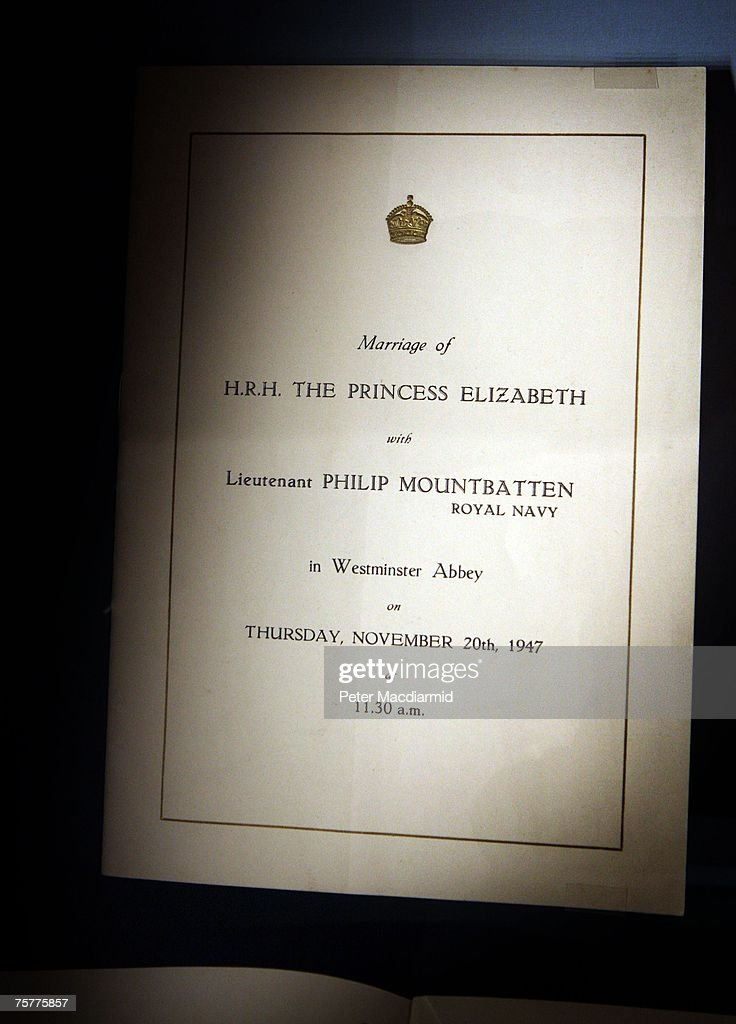A programme of the wedding is displayed at the 'Royal Wedding: 20 Novermber 1957' exhibition at Buckingham Palace on July 27, 2007 in London. Queen Elizabeth II will be the first reigning sovereign to celebrate a 60th wedding anniversary. This new exhibition will mark the occasion by recreating the day in 1947 when Princess Elizabeth married The Duke of Edinburgh at Westminster Abbey. The collection of archive film footage, behind the scenes preparations, dresses, jewels and gifts reflect the mood of public rejoicing that swept the nation in the immediate aftermath of World War II.