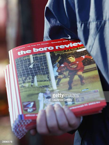 A programme seller before the FA Cup Fourth Round between Scarborough and Chelsea The McCain Stadium on January 24 2004 in Scarborough England