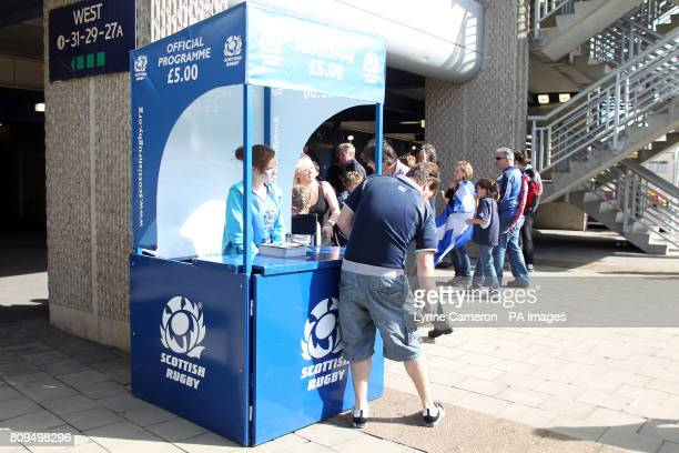 A programme seller outside Murrayfield before the match between Scotland and Italy