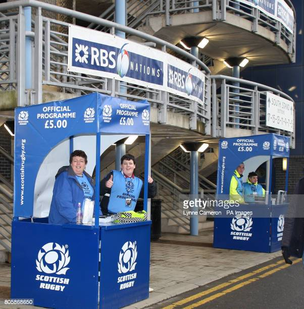 Programme Sellers Booth at Murrayfield