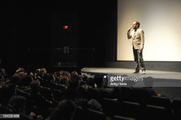 Programmer Colin Geddes speaks onstage at Stake Land Premiere during the 35th Toronto International Film Festival at Ryerson Theatre on September 17...