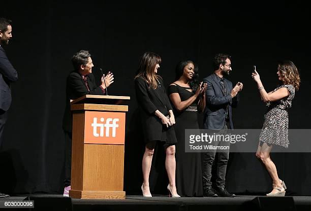 TIFF programmer Michael Lerman Jill Soloway Actress Kathryn Hahn Actress Alexandra Grey Actor Jay Duplass and Actress Amy Landecker before the...