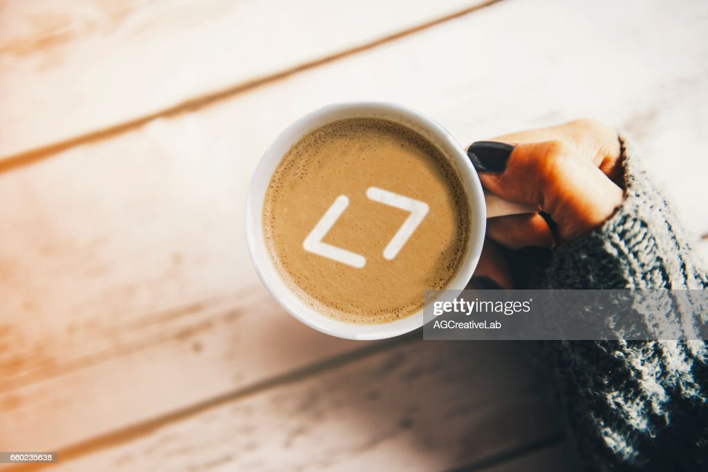 Programmer Morning Concept Coding Symbol In A Cup Of Coffee Stock