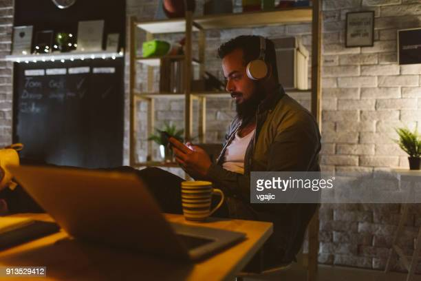 Programmer Working Late in His Office