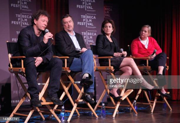Programmers, Frederic Boyer, Geoffrey Gilmore, Genna Terranova and Executive Director of the Tribeca Film Festival, Nancy Schaefer speak at the 2012...