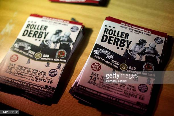 Programmes for the Rollergirls Roller Derby event on April 14 2012 in Oldham England The contact sport of Roller Derby involves two teams of four...