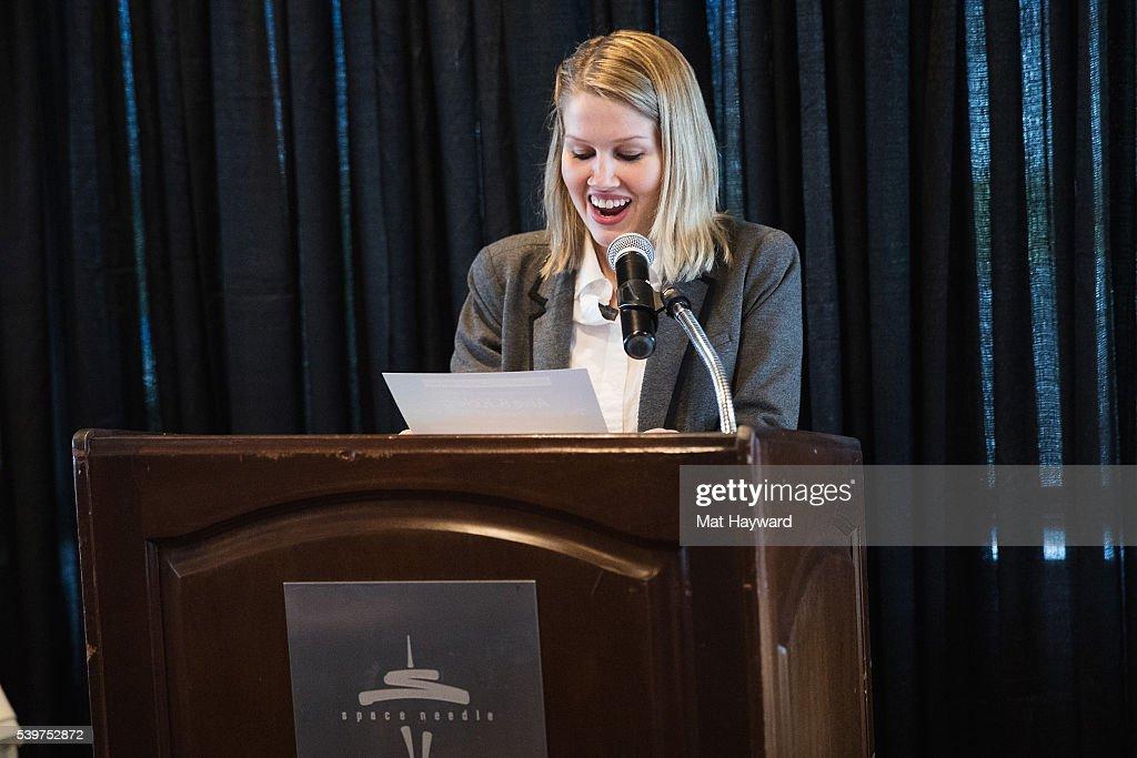 Programming Coordinator Megan Leonard speaks during the Seattle International Film Festival Golden Space Needle Award ceremony on June 12, 2016 in Seattle, Washington.