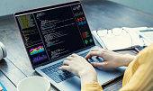 Programming language concept. System engineering. Software development.