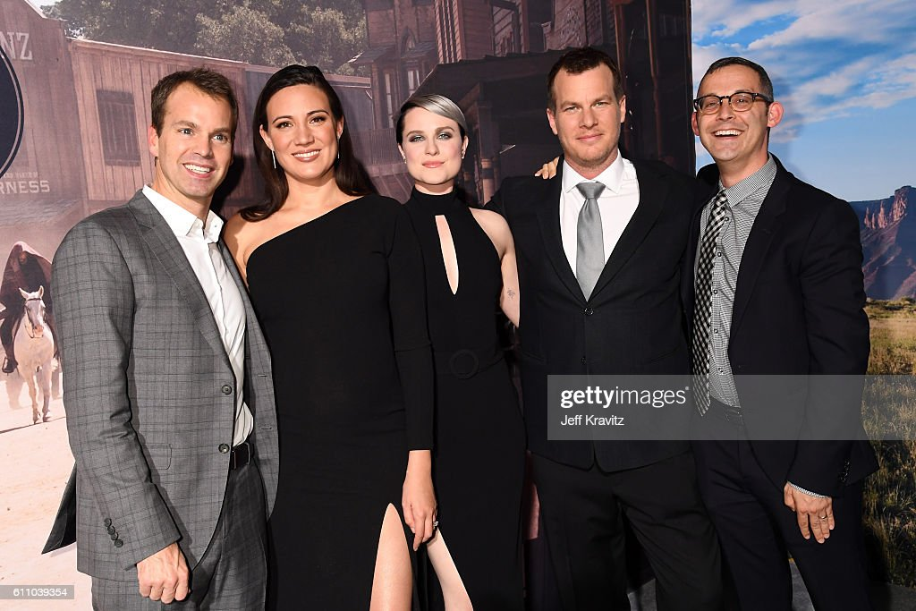 HBO Programming President Casey Bloys, Executive producer/writer Lisa Joy, actress Evan Rachel Wood, Executive producer/writer/director Jonathan Nolan, and Executive producer/writer/director HBO Drama co-head David Levine attend the premiere of HBO's 'Westworld' at TCL Chinese Theatre on September 28, 2016 in Hollywood, California.