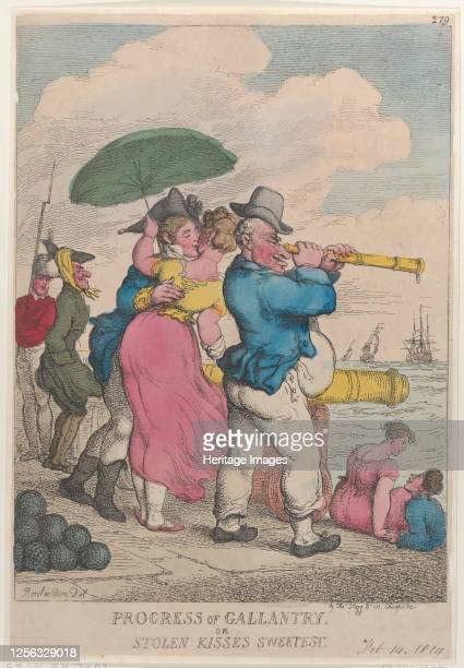 Progress of Gallantry or Stolen Kisses Sweetest, February 14, 1814. Artist Thomas Rowlandson.