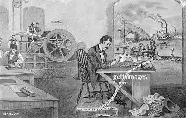 Progress of the century Printing press telegraph steam engine Lithograph by Currier and Ives