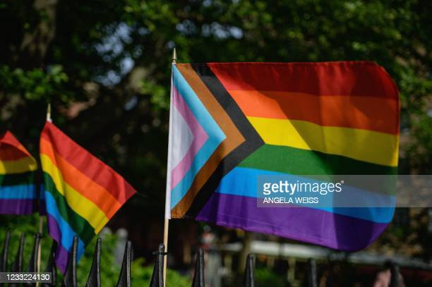 Progress Pride flag and rainbow flags are seen at the Stonewall National Monument, the first US national monument dedicated to LGBTQ history and...